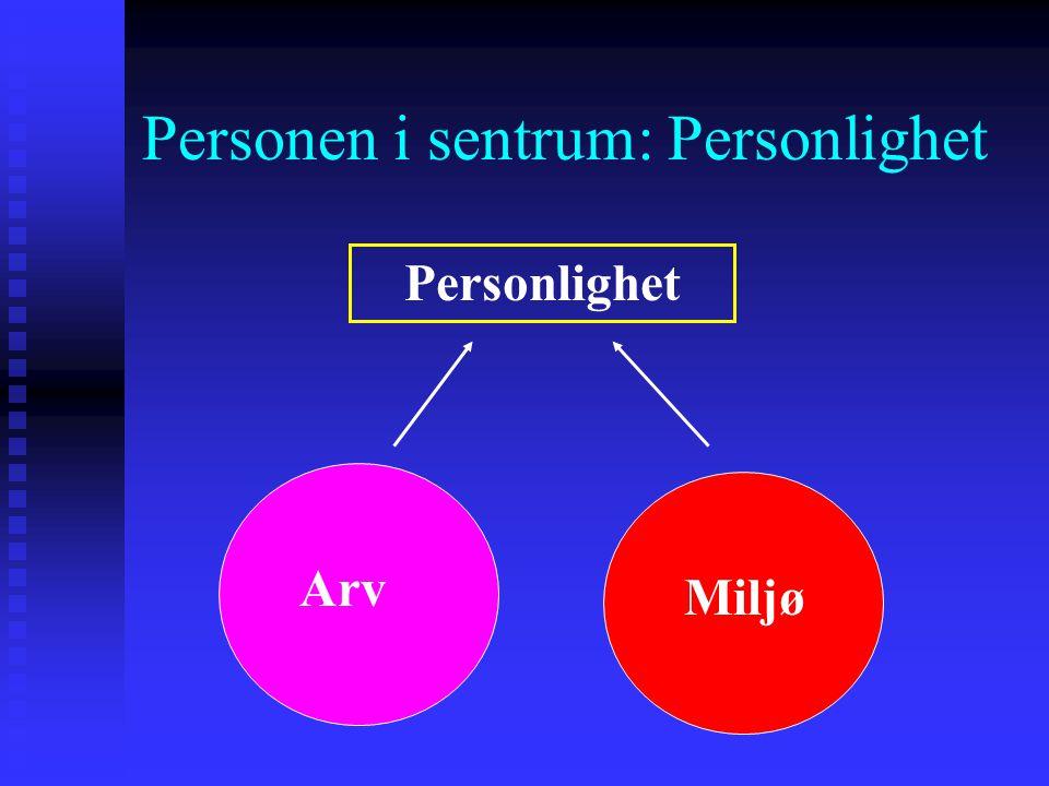 Personen i sentrum: Personlighet Personlighet refererer til en persons tendens til å tenke, føle og handle på visse måter på tvers av ulike situasjone