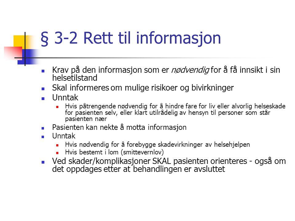 """Kap 2 Rett til helsehjelp § 2-5 Rett til individuell plan Når pasienten har """"behov for langvareige og koordinerte helsetjenester"""" Fordrer samarbeide p"""