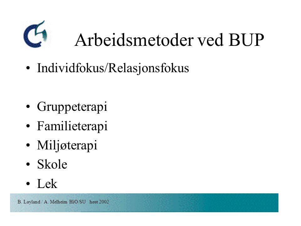 B. Løyland / A. Melheim HiO/SU høst 2002 Arbeidsmetoder ved BUP Individfokus/Relasjonsfokus Gruppeterapi Familieterapi Miljøterapi Skole Lek