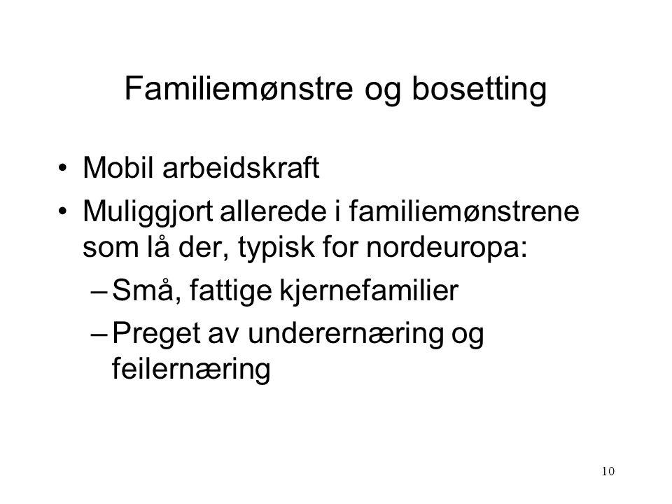 10 Familiemønstre og bosetting Mobil arbeidskraft Muliggjort allerede i familiemønstrene som lå der, typisk for nordeuropa: –Små, fattige kjernefamilier –Preget av underernæring og feilernæring