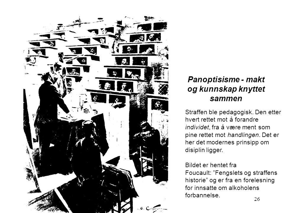 26 Panoptisisme - makt og kunnskap knyttet sammen Straffen ble pedagogisk.