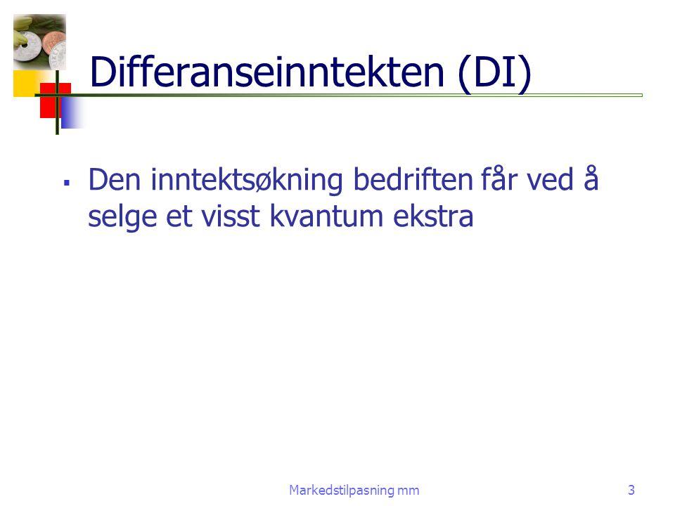 Markedstilpasning mm4 Vinningsoptimum  En bedrift som har maksimalisering av fortjenesten som målsetning vil tilpasse seg den pris og produksjonsmengde hvor grenseinntekten=grensekostnaden dTK=dTI dxdx