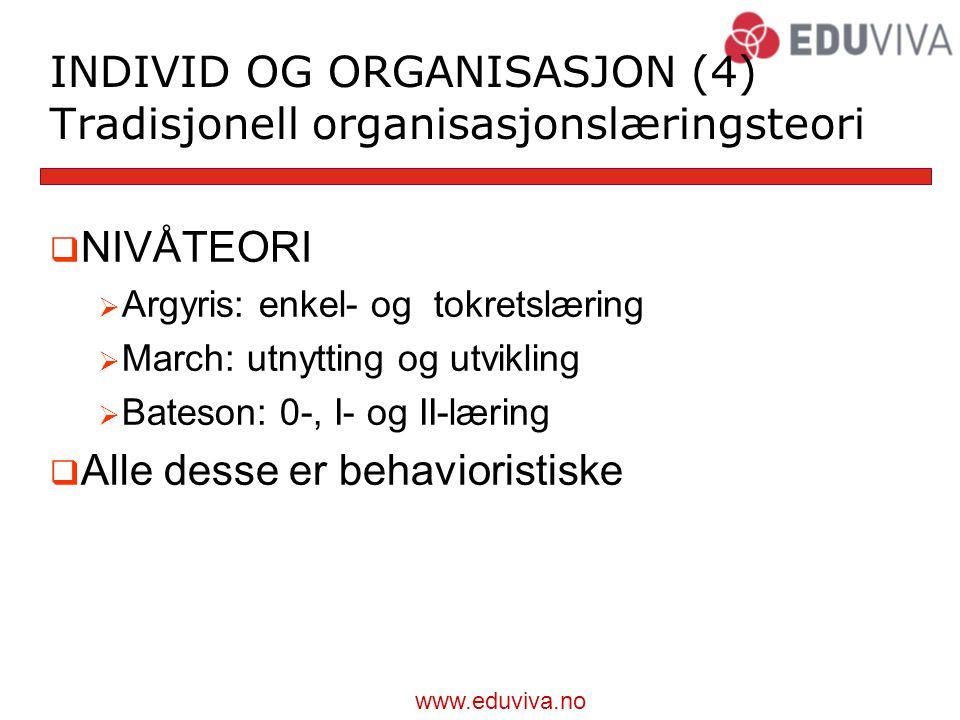 www.eduviva.no INDIVID OG ORGANISASJON (4) Tradisjonell organisasjonslæringsteori  NIVÅTEORI  Argyris: enkel- og tokretslæring  March: utnytting og utvikling  Bateson: 0-, I- og II-læring  Alle desse er behavioristiske