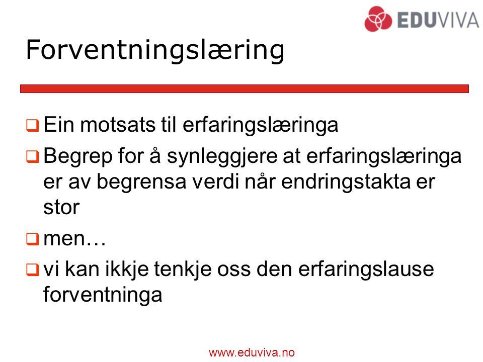 www.eduviva.no Forventningslæring  Ein motsats til erfaringslæringa  Begrep for å synleggjere at erfaringslæringa er av begrensa verdi når endringstakta er stor  men…  vi kan ikkje tenkje oss den erfaringslause forventninga
