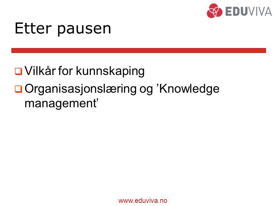 www.eduviva.no Etter pausen  Vilkår for kunnskaping  Organisasjonslæring og 'Knowledge management'