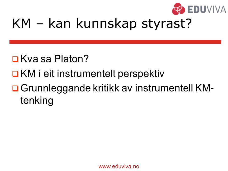 www.eduviva.no KM – kan kunnskap styrast. Kva sa Platon.