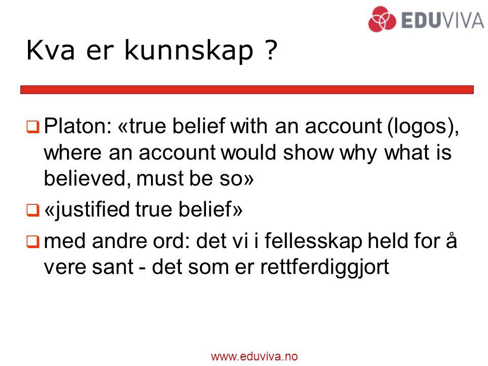 www.eduviva.no Kva er kunnskap .