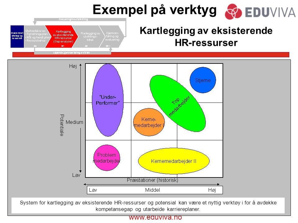 www.eduviva.no Exempel på verktyg Kartlegging av eksisterende HR-ressurser Kundemeter er et eksempel på prestasjonsmålinger som inngår i Kritisske Suksessfaktorer (KPIs)System for kartlegging av eksisterende HR-ressurser og potensial kan være et nyttig verktøy i for å avdekke kompetansegap og utarbeide karriereplaner.