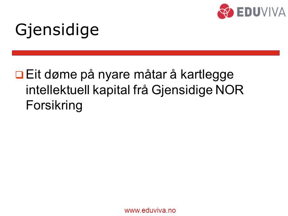 www.eduviva.no Gjensidige  Eit døme på nyare måtar å kartlegge intellektuell kapital frå Gjensidige NOR Forsikring