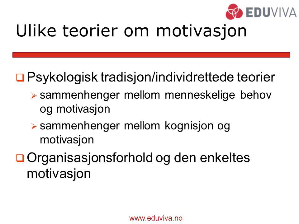 www.eduviva.no Ulike teorier om motivasjon  Psykologisk tradisjon/individrettede teorier  sammenhenger mellom menneskelige behov og motivasjon  sammenhenger mellom kognisjon og motivasjon  Organisasjonsforhold og den enkeltes motivasjon