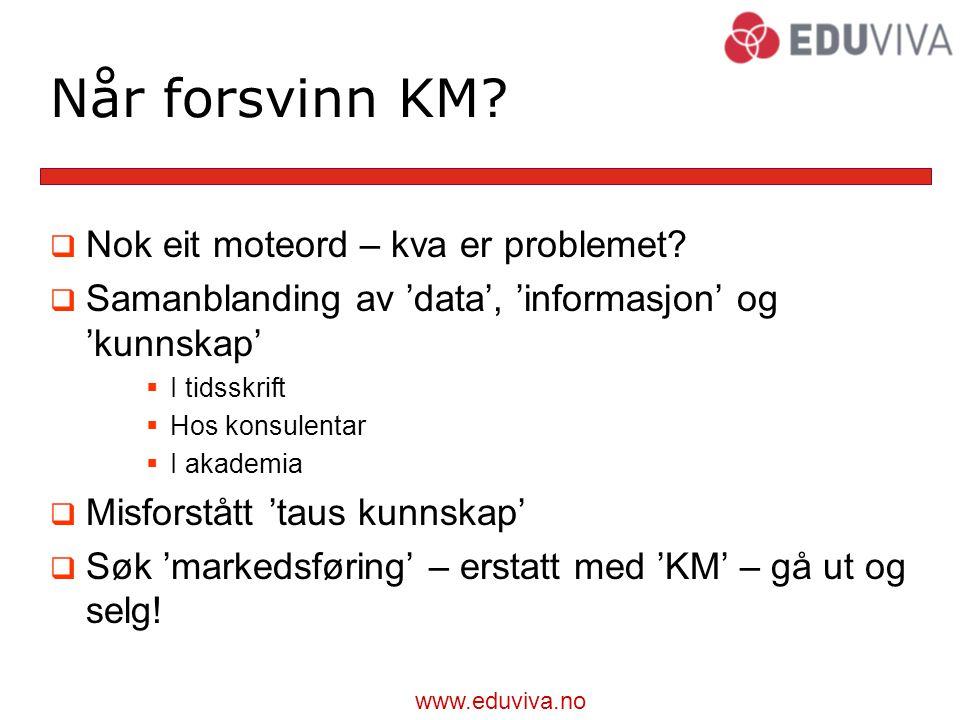 www.eduviva.no Når forsvinn KM. Nok eit moteord – kva er problemet.