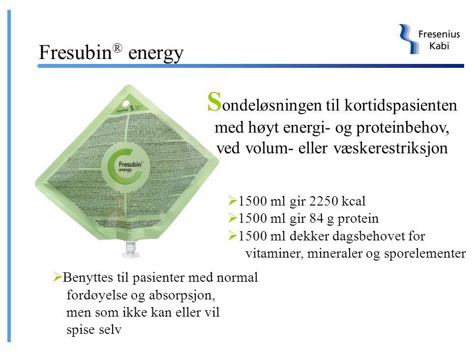 Sondeløsningen til langtidspasienten med normalt energi- og proteinbehov  1500 ml gir 1500 kcal  1500 ml gir 57 g protein  1500 ml dekker dagsbehov