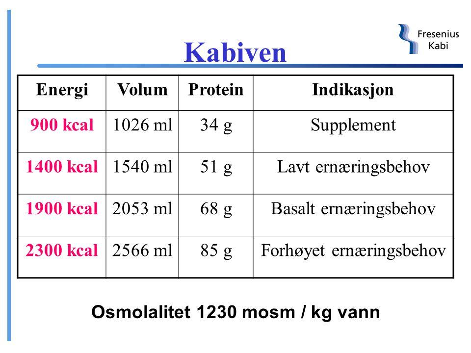 Kabiven ® 3 – kammerpose Separate kamre for glukose, Vamin (aminosyrer) og Intralipid (fett) Oppbevares i romtemperatur Holdbar i 24 måneder