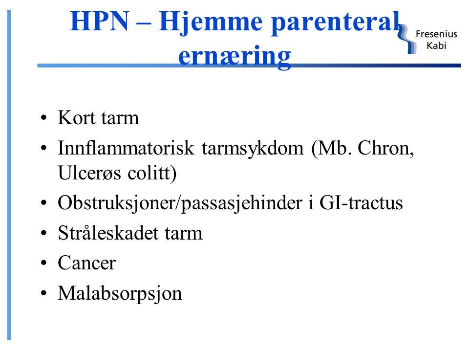 Ernæring i hjemmet Sondeernæring Parenteral ernæring – HPN (Hjemme parenteral ernæring) Samme hjelpemidler som på sykehus Pumpe og bæresystem spesielt