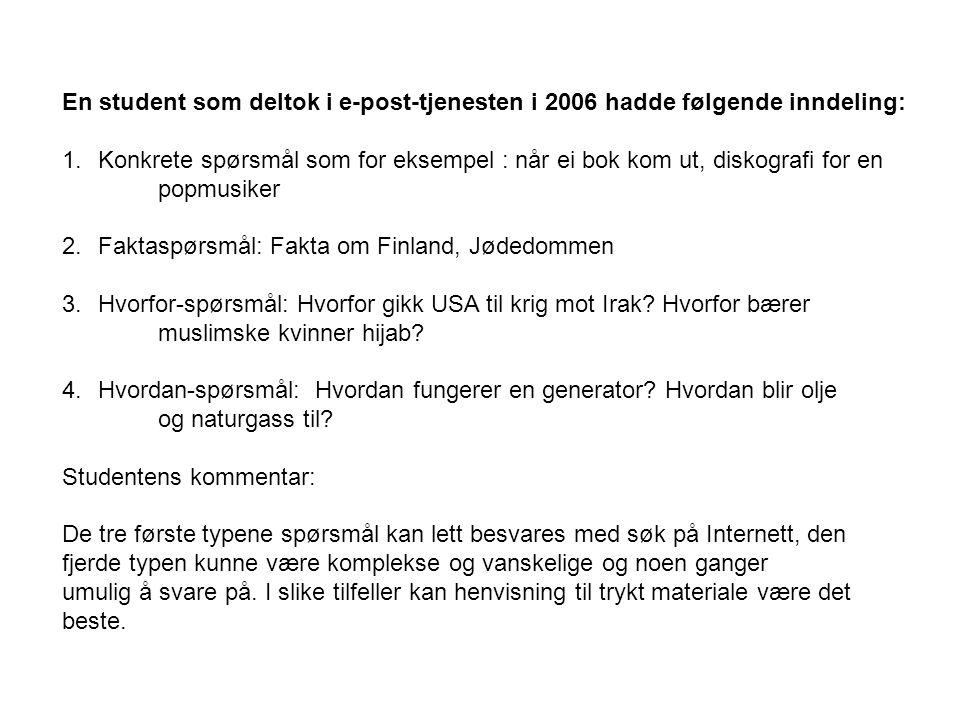 En student som deltok i e-post-tjenesten i 2006 hadde følgende inndeling: 1.Konkrete spørsmål som for eksempel : når ei bok kom ut, diskografi for en