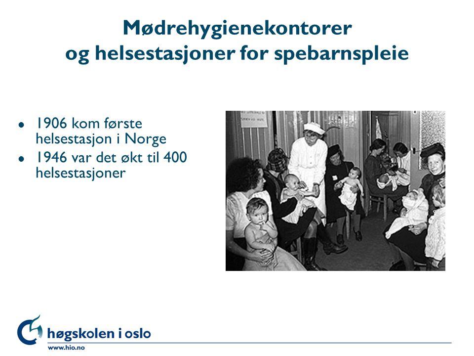 Mødrehygienekontorer og helsestasjoner for spebarnspleie l 1906 kom første helsestasjon i Norge l 1946 var det økt til 400 helsestasjoner