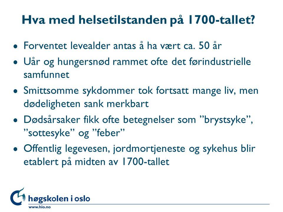 1850- starten på en ny tid l Statistikk l Sundhetsloven l Bakteriologien - fra miasmeteori til at det var levende organismer som var årsaker til sykdommer l Tuberkelbasillen 1882, leprabasillen 1873 l Semmelweiss, Lister, Koch og Pasteur l Antiseptisk sårbehandling 1883 ved RH i Norge