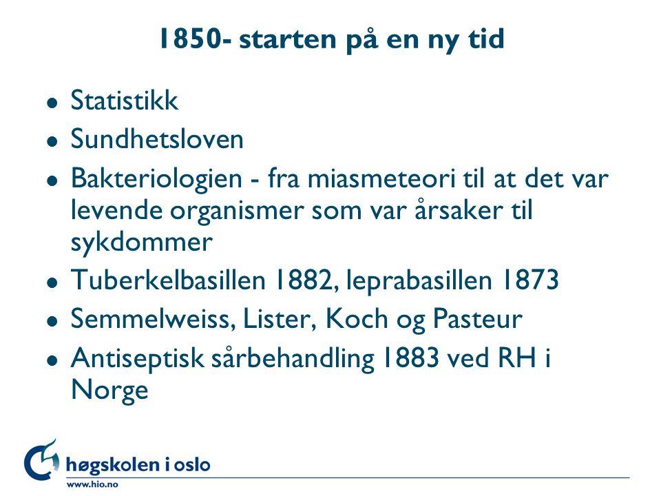 1850- starten på en ny tid l Statistikk l Sundhetsloven l Bakteriologien - fra miasmeteori til at det var levende organismer som var årsaker til sykdo