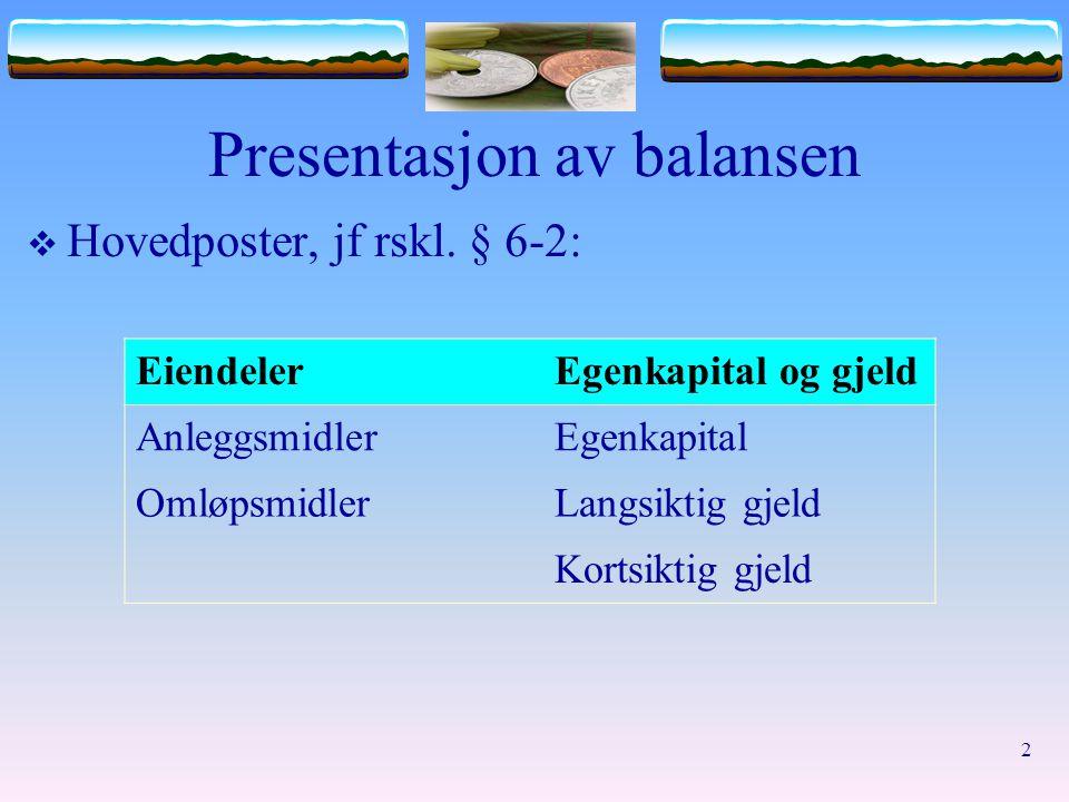 2 Presentasjon av balansen  Hovedposter, jf rskl. § 6-2: EiendelerEgenkapital og gjeld AnleggsmidlerEgenkapital OmløpsmidlerLangsiktig gjeld Kortsikt