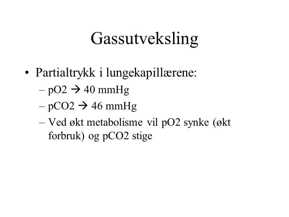Gassutveksling Partialtrykk i lungekapillærene: –pO2  40 mmHg –pCO2  46 mmHg –Ved økt metabolisme vil pO2 synke (økt forbruk) og pCO2 stige