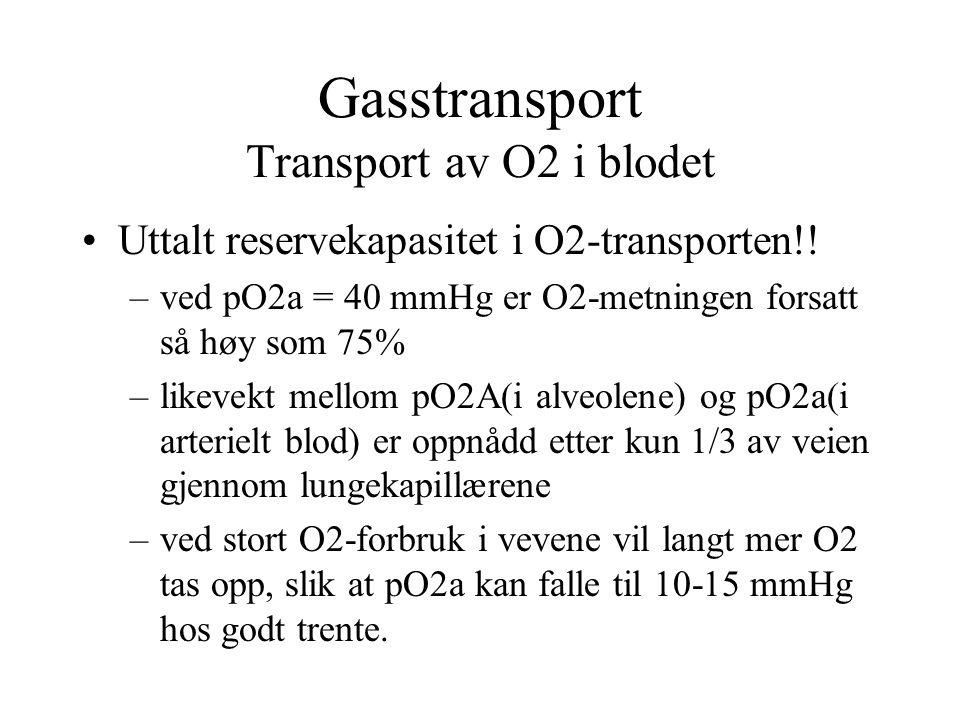 Gasstransport Transport av O2 i blodet Uttalt reservekapasitet i O2-transporten!! –ved pO2a = 40 mmHg er O2-metningen forsatt så høy som 75% –likevekt