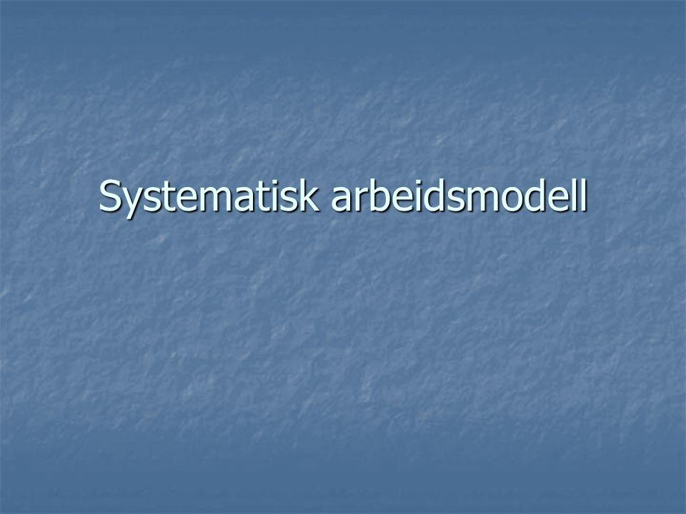 Kartlegging/ observasjon Problemformulering/ Målformulering Analyse av problemet Planlegging av tiltak Iverksetting av tiltak Evaluering Perspektiv – Teoretisk plattform Arbeidsprosessen