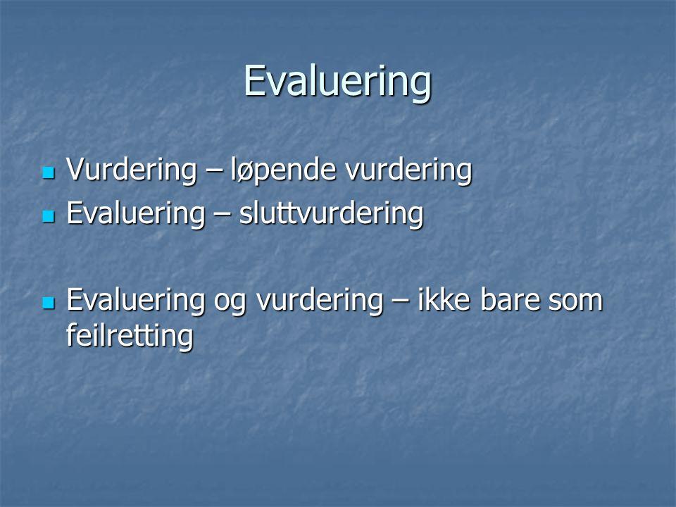 Evaluering Vurdering – løpende vurdering Vurdering – løpende vurdering Evaluering – sluttvurdering Evaluering – sluttvurdering Evaluering og vurdering