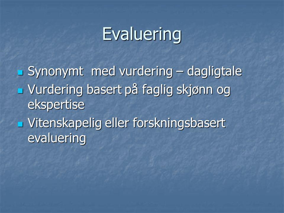 Evaluering Synonymt med vurdering – dagligtale Synonymt med vurdering – dagligtale Vurdering basert på faglig skjønn og ekspertise Vurdering basert på