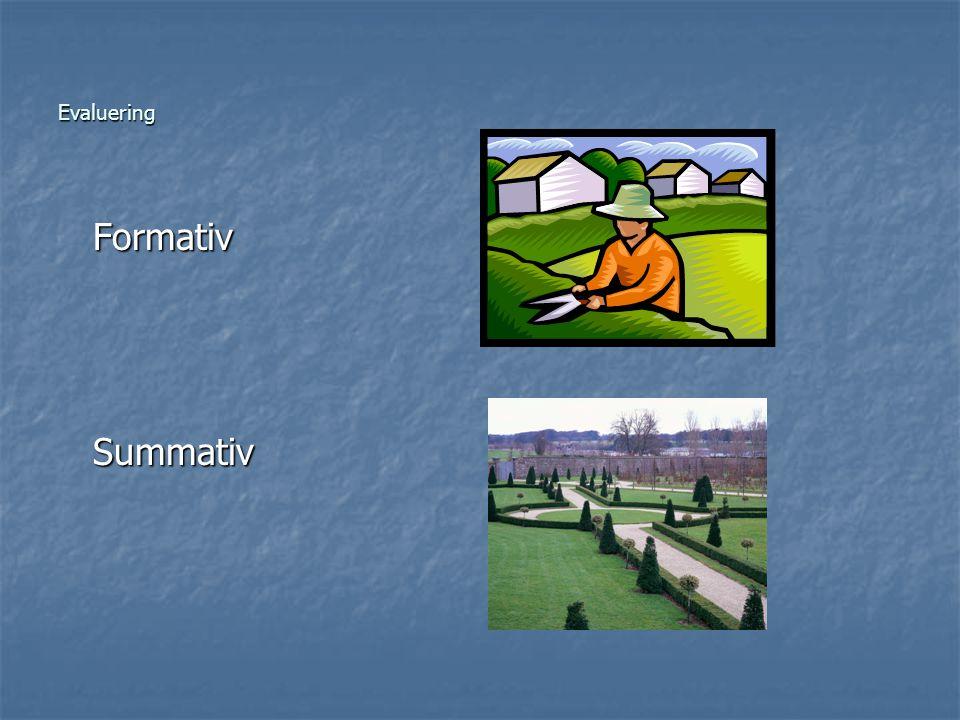 Evaluering Formativ Formativ Summativ Summativ