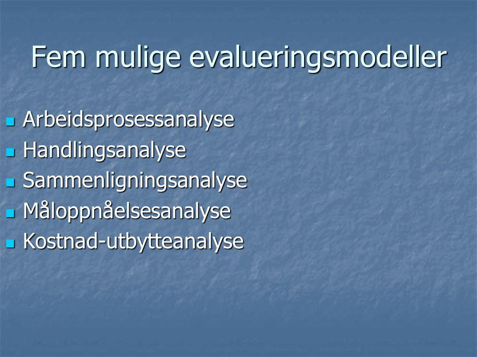 Fem mulige evalueringsmodeller Arbeidsprosessanalyse Arbeidsprosessanalyse Handlingsanalyse Handlingsanalyse Sammenligningsanalyse Sammenligningsanaly