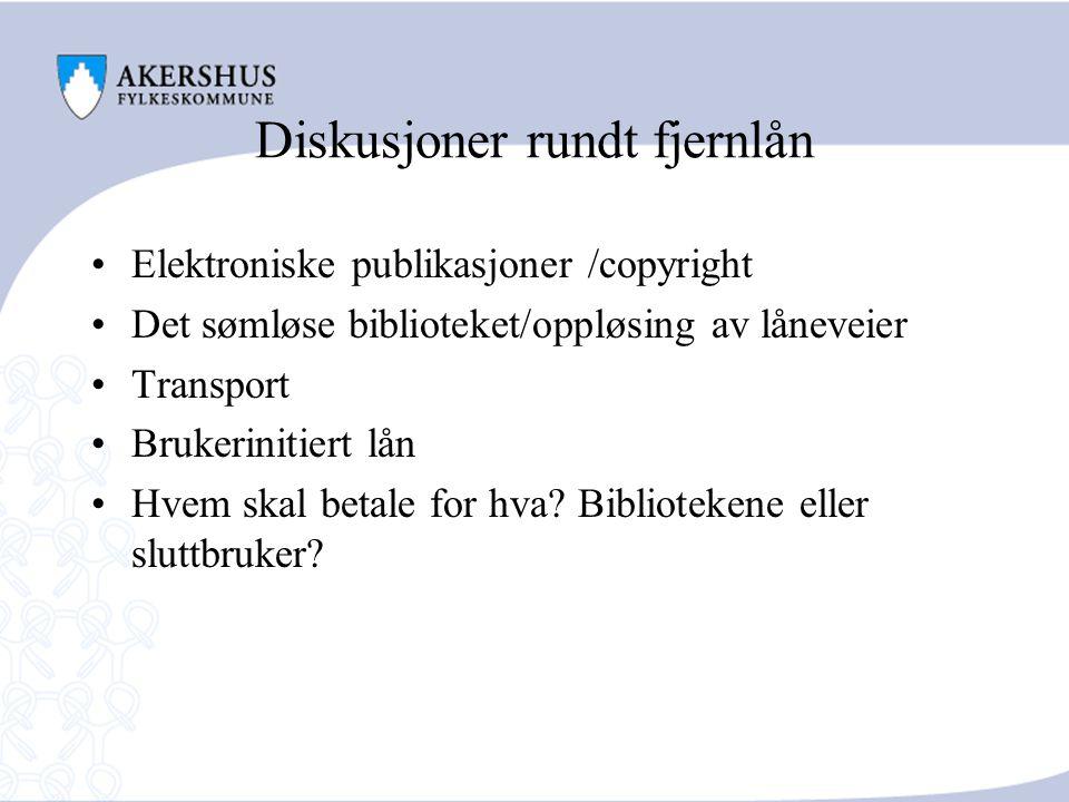 Diskusjoner rundt fjernlån Elektroniske publikasjoner /copyright Det sømløse biblioteket/oppløsing av låneveier Transport Brukerinitiert lån Hvem skal betale for hva.
