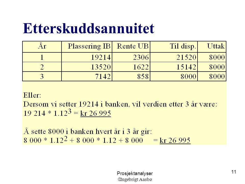 Prosjektanalyser  Ingebrigt Aasbø 11 Etterskuddsannuitet