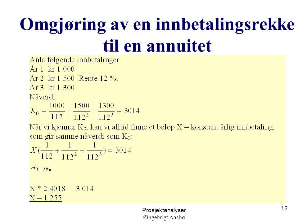 Prosjektanalyser  Ingebrigt Aasbø 12 Omgjøring av en innbetalingsrekke til en annuitet