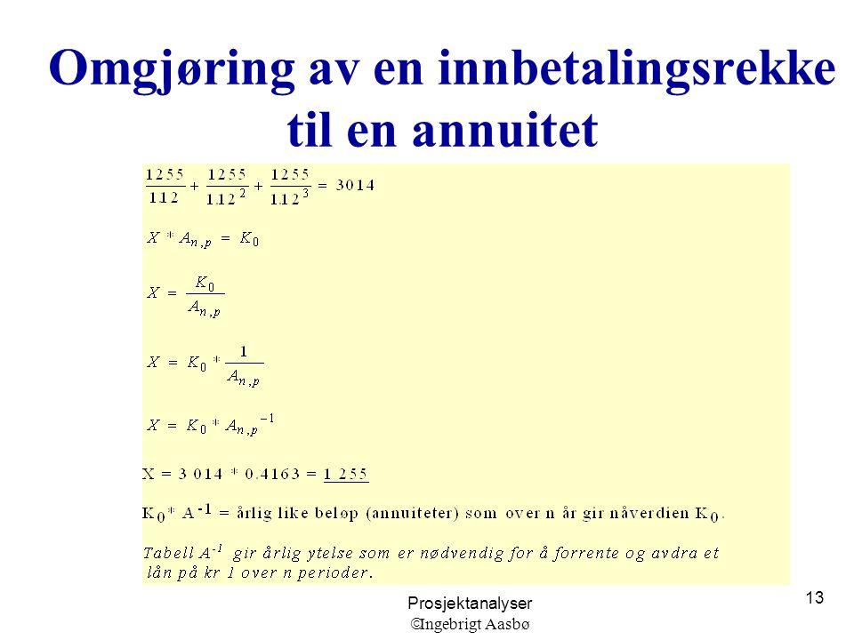 Prosjektanalyser  Ingebrigt Aasbø 13 Omgjøring av en innbetalingsrekke til en annuitet