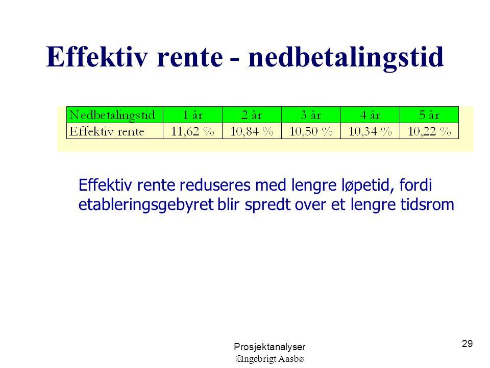 Prosjektanalyser  Ingebrigt Aasbø 29 Effektiv rente - nedbetalingstid Effektiv rente reduseres med lengre løpetid, fordi etableringsgebyret blir spre