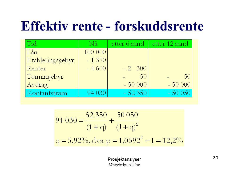 Prosjektanalyser  Ingebrigt Aasbø 30 Effektiv rente - forskuddsrente