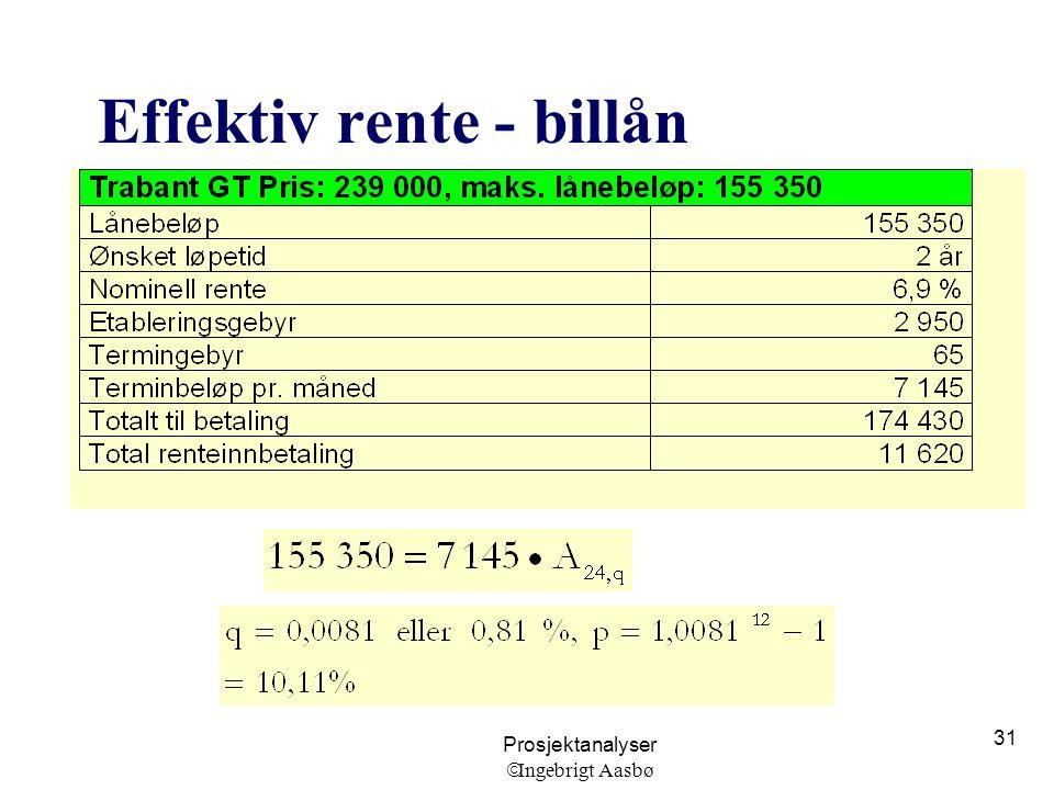 Prosjektanalyser  Ingebrigt Aasbø 31 Effektiv rente - billån