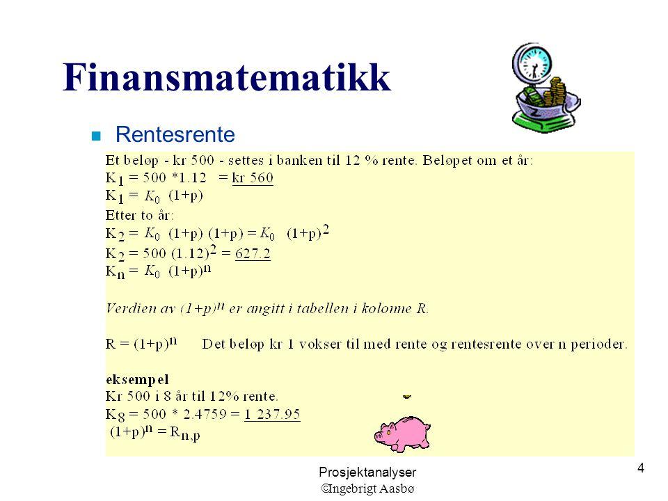 Prosjektanalyser  Ingebrigt Aasbø 4 Finansmatematikk n Rentesrente