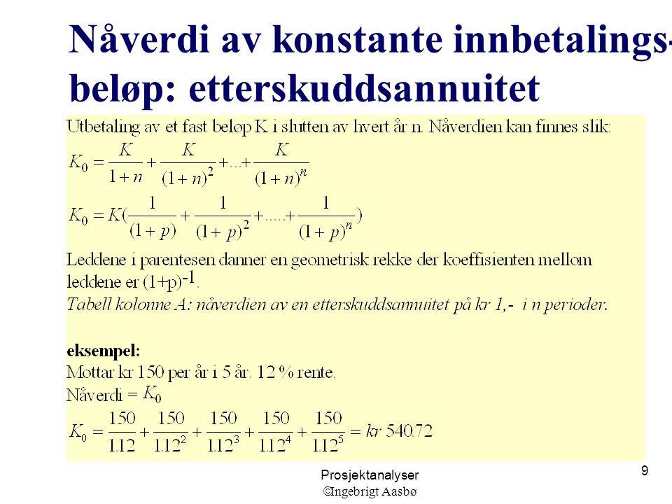 Prosjektanalyser  Ingebrigt Aasbø 9 Nåverdi av konstante innbetalings- beløp: etterskuddsannuitet