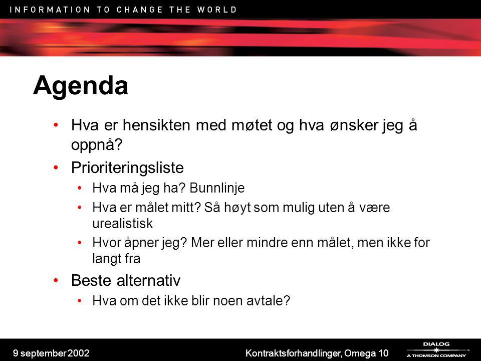 9 september 2002Kontraktsforhandlinger, Omega 10 Agenda Hva er hensikten med møtet og hva ønsker jeg å oppnå? Prioriteringsliste Hva må jeg ha? Bunnli