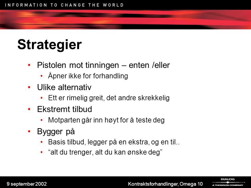 9 september 2002Kontraktsforhandlinger, Omega 10 Strategier Pistolen mot tinningen – enten /eller Åpner ikke for forhandling Ulike alternativ Ett er r