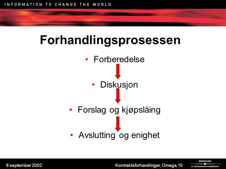 9 september 2002Kontraktsforhandlinger, Omega 10 Kjøpslåing Hovedregel: ikke godta første tilbud Vær tøff i begynnelsen, ikke gi etter Prøv å verdisette ekstra'ene de tilbyr