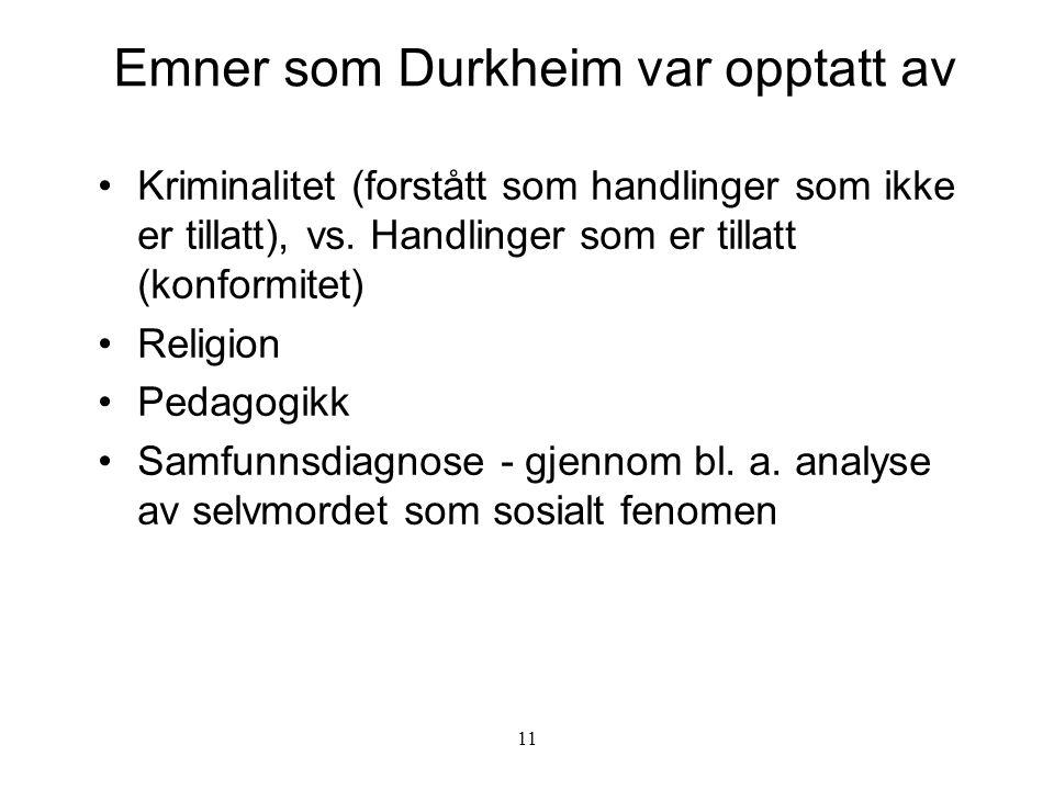 11 Emner som Durkheim var opptatt av Kriminalitet (forstått som handlinger som ikke er tillatt), vs. Handlinger som er tillatt (konformitet) Religion