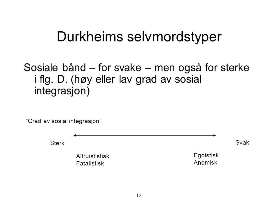 """13 Durkheims selvmordstyper Sosiale bånd – for svake – men også for sterke i flg. D. (høy eller lav grad av sosial integrasjon) """"Grad av sosial integr"""