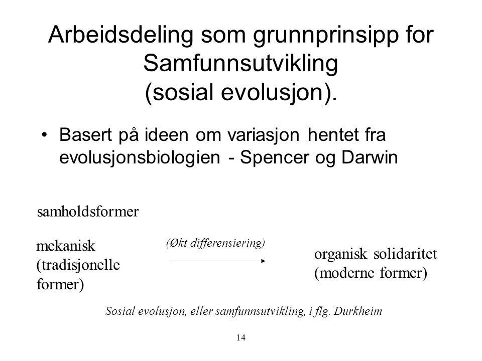14 Arbeidsdeling som grunnprinsipp for Samfunnsutvikling (sosial evolusjon). Basert på ideen om variasjon hentet fra evolusjonsbiologien - Spencer og