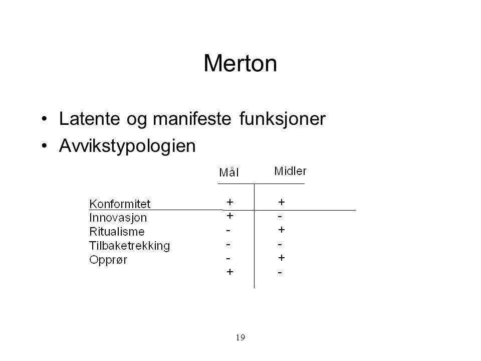 19 Merton Latente og manifeste funksjoner Avvikstypologien