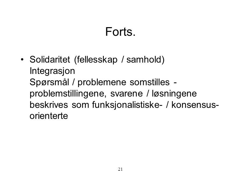 21 Forts. Solidaritet (fellesskap / samhold) Integrasjon Spørsmål / problemene somstilles - problemstillingene, svarene / løsningene beskrives som fun