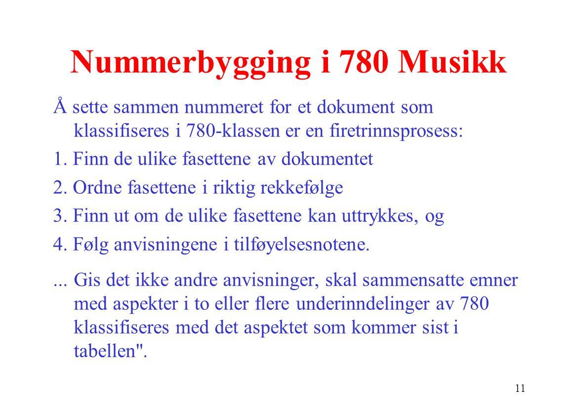 11 Nummerbygging i 780 Musikk Å sette sammen nummeret for et dokument som klassifiseres i 780 ‑ klassen er en firetrinnsprosess: 1.