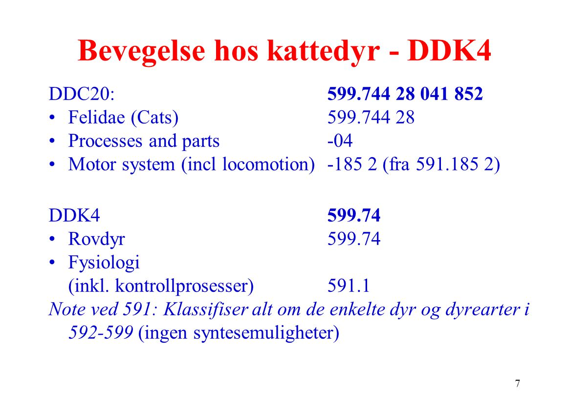 7 Bevegelse hos kattedyr - DDK4 DDC20: 599.744 28 041 852 Felidae (Cats)599.744 28 Processes and parts-04 Motor system (incl locomotion)-185 2 (fra 591.185 2) DDK4599.74 Rovdyr599.74 Fysiologi (inkl.