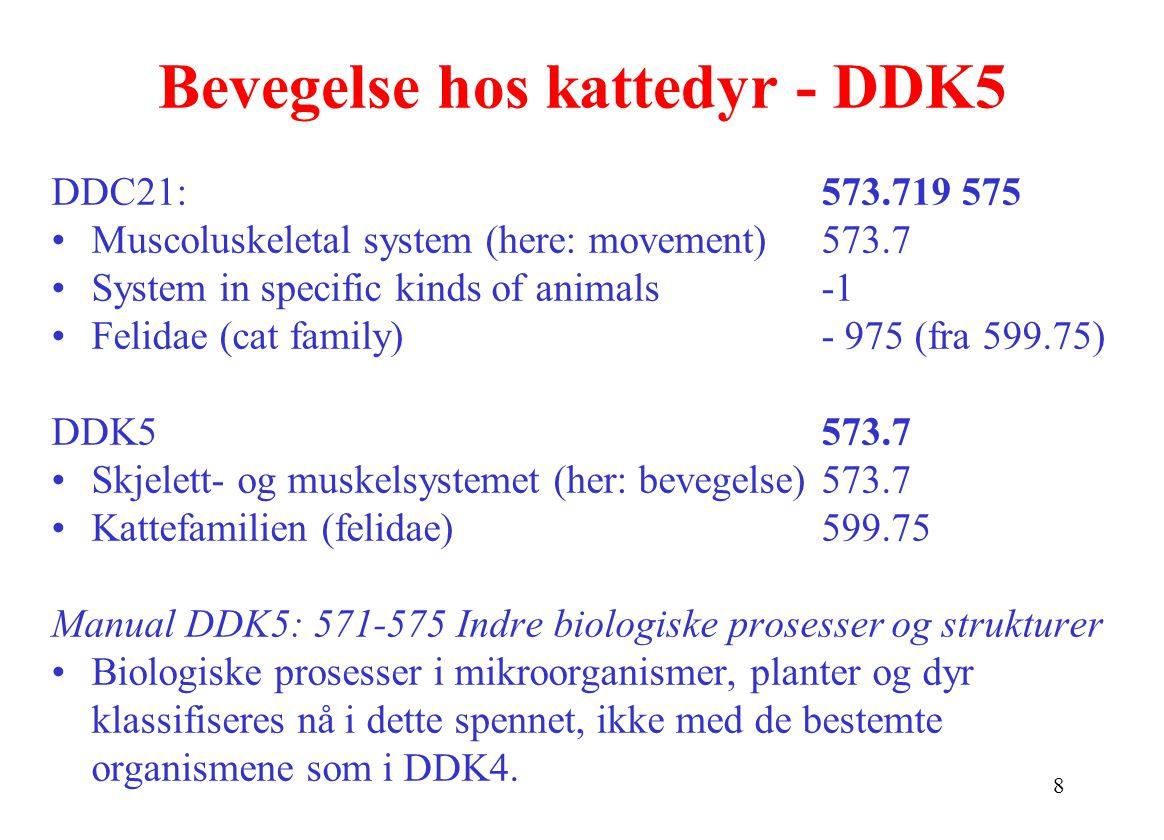 8 Bevegelse hos kattedyr - DDK5 DDC21: 573.719 575 Muscoluskeletal system (here: movement)573.7 System in specific kinds of animals-1 Felidae (cat family)- 975 (fra 599.75) DDK5573.7 Skjelett- og muskelsystemet (her: bevegelse) 573.7 Kattefamilien (felidae)599.75 Manual DDK5: 571-575 Indre biologiske prosesser og strukturer Biologiske prosesser i mikroorganismer, planter og dyr klassifiseres nå i dette spennet, ikke med de bestemte organismene som i DDK4.